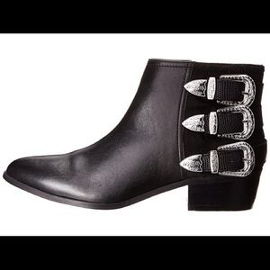 Aldo | Black 3 Western Style Buckle Booties